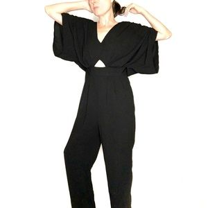 Black ASOS pantsuit with cutouts short sleeves
